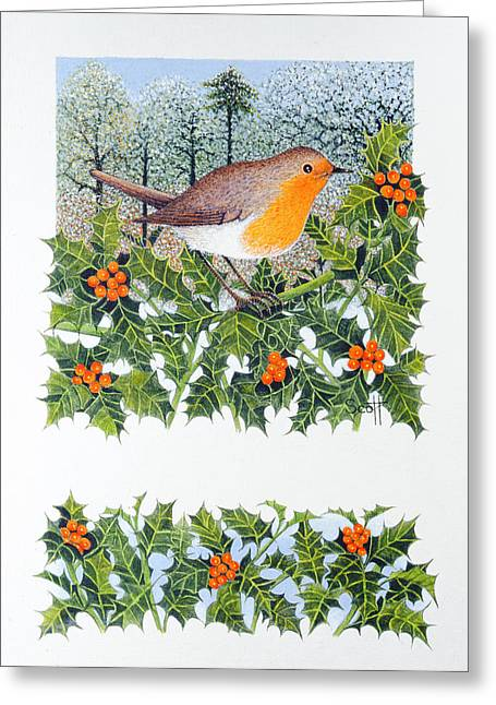 Robin Greeting Cards - Berrying Oil On Canvas Greeting Card by Pat Scott
