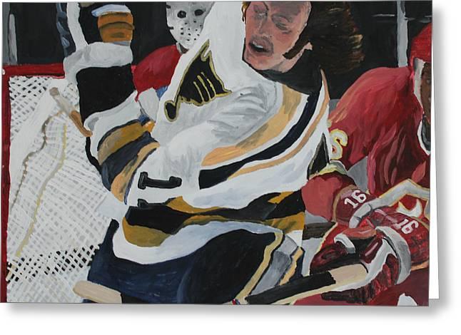 Hockey Paintings Greeting Cards - Bert Wilson  Greeting Card by Aidan Squirrell