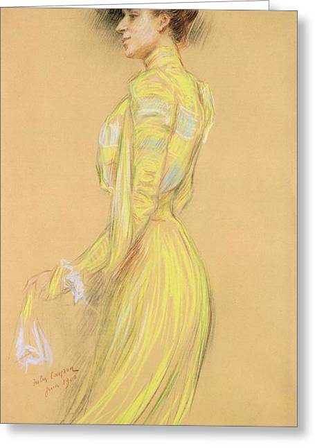 Three-quarter Length Greeting Cards - Berthe Cerny 1868-1940 June 1900 Pencil On Paper Greeting Card by Jules Cayron