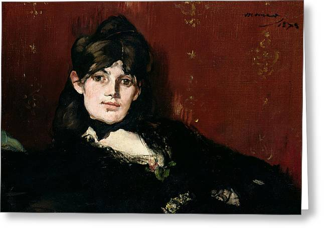 Wife Greeting Cards - Berthe Morisot 1841-95 Reclining, 1873 Oil On Canvas Greeting Card by Edouard Manet
