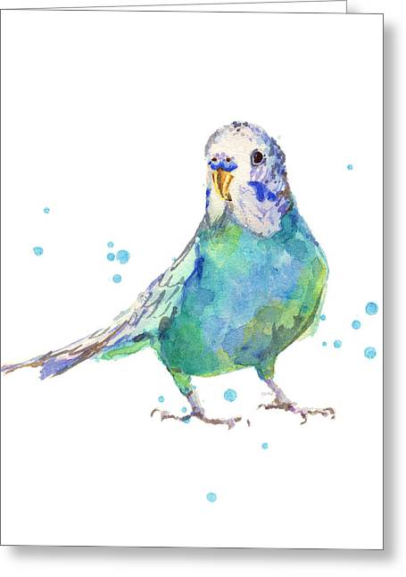 Parakeet Paintings Greeting Cards - Bertie Wonderblue the Budgie Greeting Card by Alison Fennell