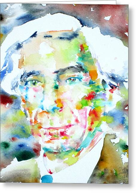 British Portraits Greeting Cards - BERTRAND RUSSELL - watercolor portrait Greeting Card by Fabrizio Cassetta
