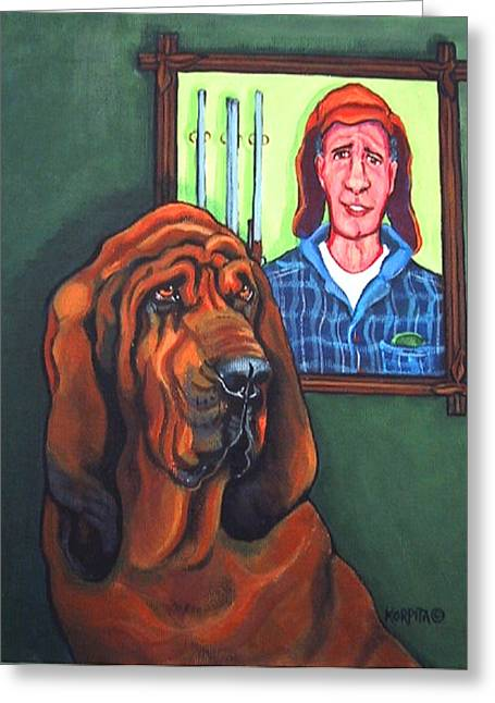 Gun Owner Greeting Cards - Bloodhound - Bervil and Blue Greeting Card by Rebecca Korpita