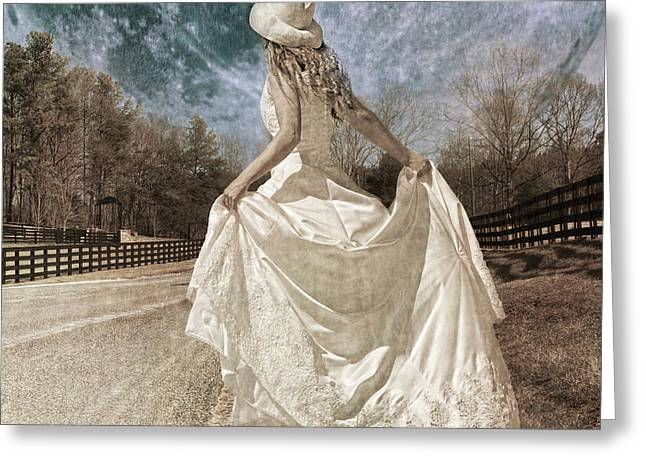 Bridal Gown Greeting Cards - Beside Myself the Moon Greeting Card by Betsy C  Knapp