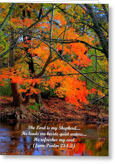 Testament Greeting Cards - Beside Still Waters Psalm 23.1-3 - From Fire in the Creek B1 - Owens Creek Frederick County MD Greeting Card by Michael Mazaika