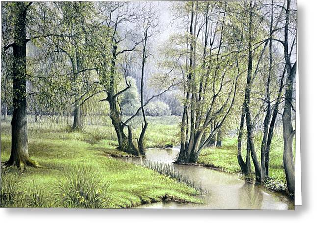 Faith Pastels Greeting Cards - Beside Still Waters Greeting Card by Rosemary Colyer