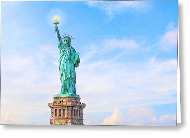 Historic Statue Greeting Cards - Beside the Golden Door - Statue of Liberty Greeting Card by Mark E Tisdale