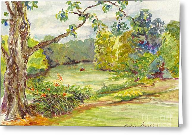 Indiana Flowers Paintings Greeting Cards - Beside the River Greeting Card by Gedda Runyon Starlin