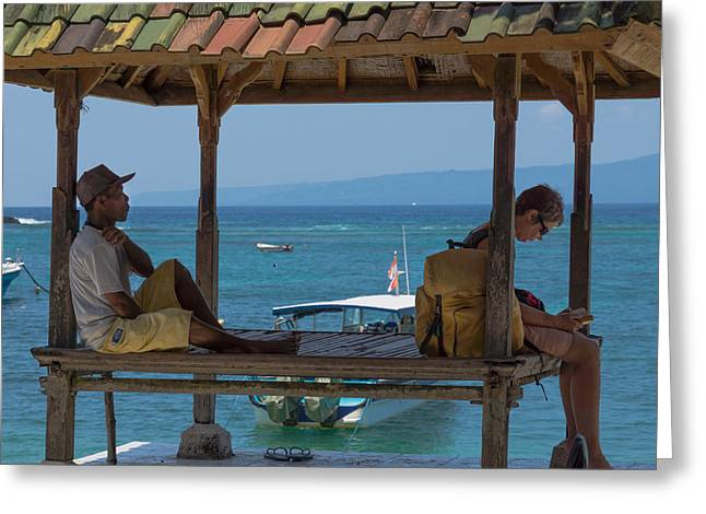 Sittting Greeting Cards - Beside Tropical Waters Greeting Card by Paul Donohoe