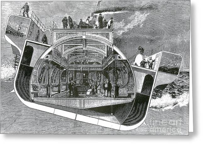 Saloons Greeting Cards - Bessemer Saloon Steamer, 1874 Greeting Card by Science Source