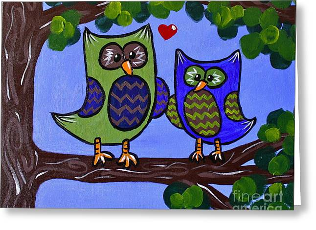 Chevron Owl Greeting Cards - Best Buddies Greeting Card by Kimberly Wix