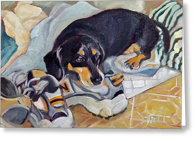 Black And Tan Dachshund Greeting Cards - Best Dog in the Whole World Greeting Card by Pattie Wall
