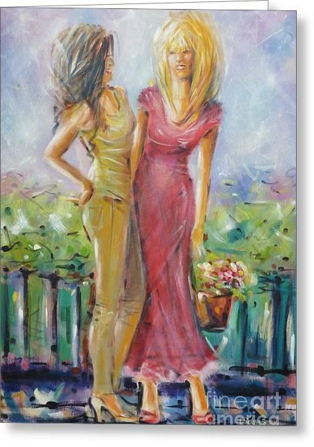 Australian Gold Coast Artist Greeting Cards - Best Friends 171008 Greeting Card by Selena Boron