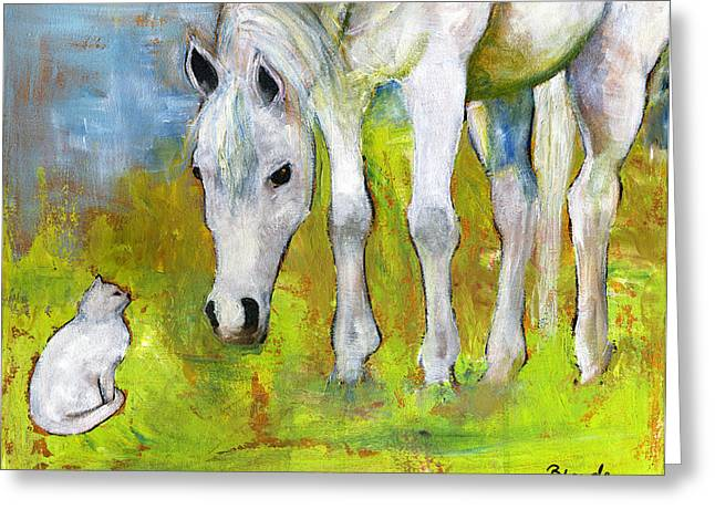 Conceptual Paintings Greeting Cards - Best Friends Art Greeting Card by Blenda Studio