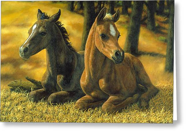 Filly Art Greeting Cards - Best Friends Greeting Card by Crista Forest