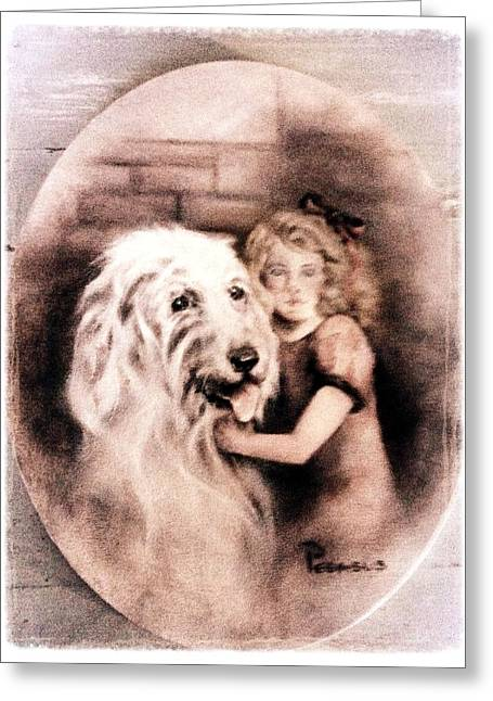 Puppy Greeting Cards - Best Friends Forever - Vintage Collection Greeting Card by Beverly Pegasus