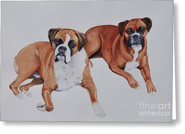Boxer Greeting Cards - Best Friends Greeting Card by John W Walker