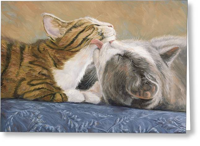 Domestic Cat Greeting Cards - Best Friends Greeting Card by Lucie Bilodeau