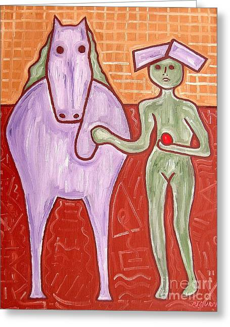 Surreal Horses Fine Art Prints Greeting Cards - Best Friends Greeting Card by Patrick J Murphy