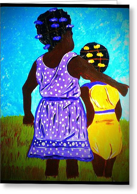 Sisterly Greeting Cards - Best Friends Greeting Card by Saundra Myles