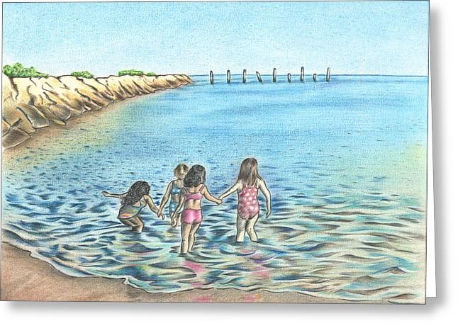 Beach Photos Drawings Greeting Cards - Best Friends Greeting Card by Troy Levesque