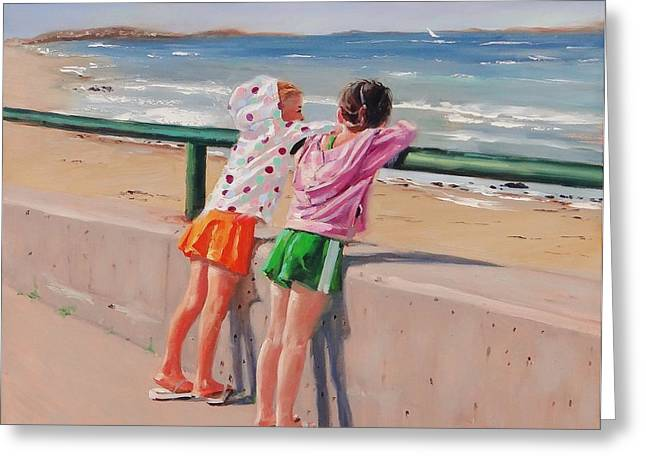 Nantasket Beach Greeting Cards - Best Friends Two Greeting Card by Laura Lee Zanghetti