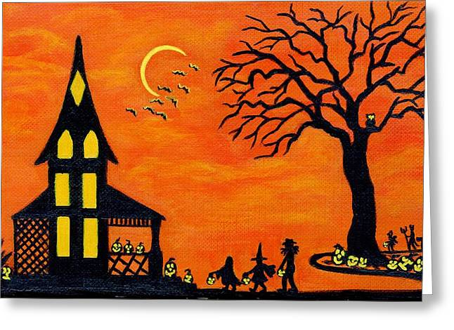 """haunted House"" Paintings Greeting Cards - Best Night of the Year Greeting Card by Christine Altmann"