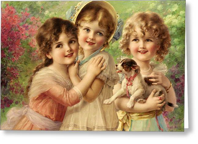 Best Sellers -  - Puppy Digital Art Greeting Cards - Best Of Friends Greeting Card by Emile Vernon