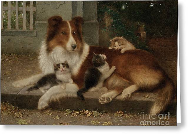 Collie Greeting Cards - Best of Friends Greeting Card by Wilhelm Schwar