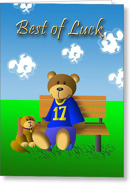 Wildlife Celebration Greeting Cards - Best Of Luck Teddy Bear Greeting Card by Jeanette K