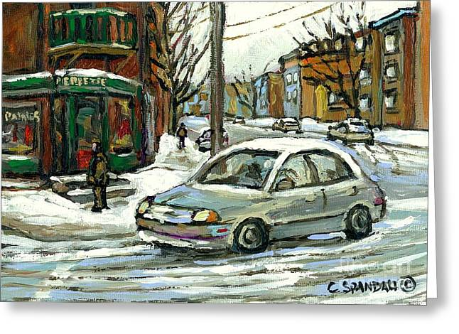 Verdun Food Greeting Cards - Best Original Montreal Art Landmarks Pierrette Patates Verdun Celebrate Montreal 375 Carole Spandau Greeting Card by Carole Spandau