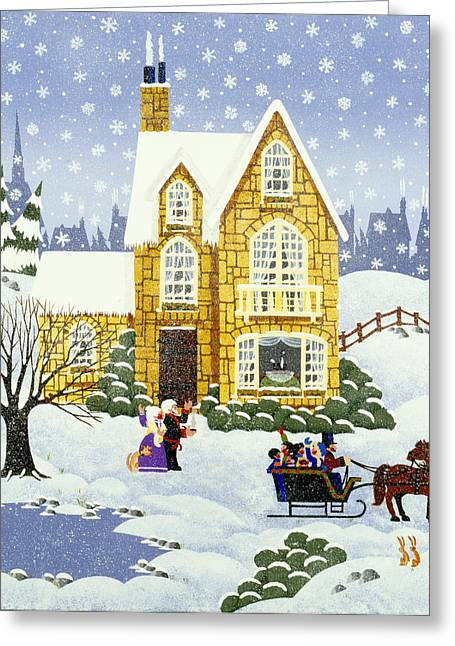 New England Snow Scene Paintings Greeting Cards - Best Part of the Weekend Greeting Card by Merry  Kohn Buvia