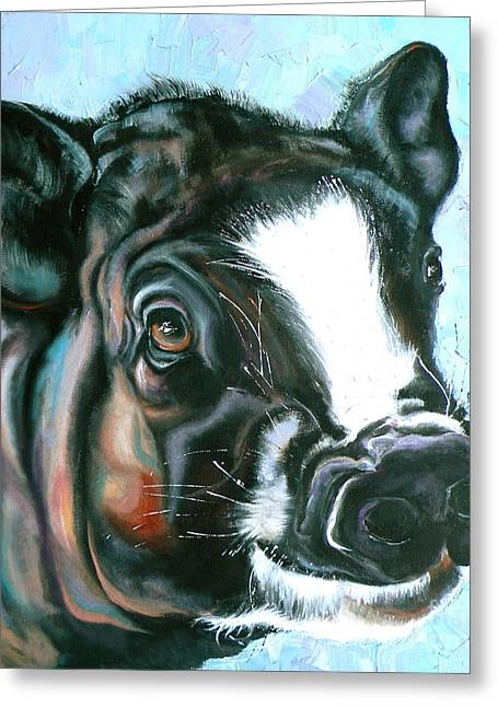 Piglets Greeting Cards - Best Pig Ever Greeting Card by Susan A Becker