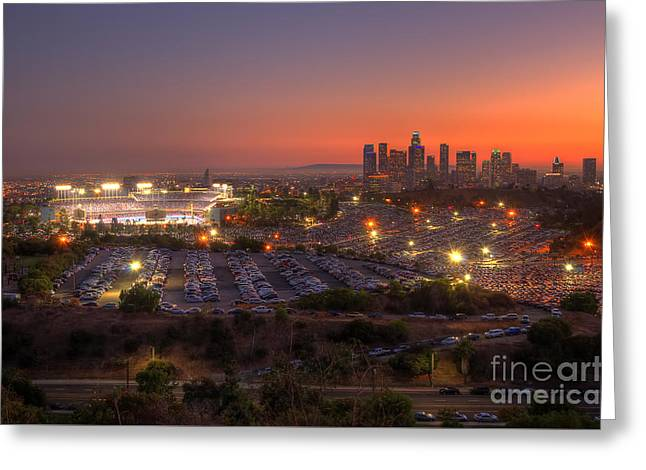 Dodger Stadium Greeting Cards - Best Seat In The House Greeting Card by Eddie Yerkish