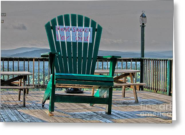 Empty Chairs Greeting Cards - Best seat in Vermont Greeting Card by Claudia Mottram