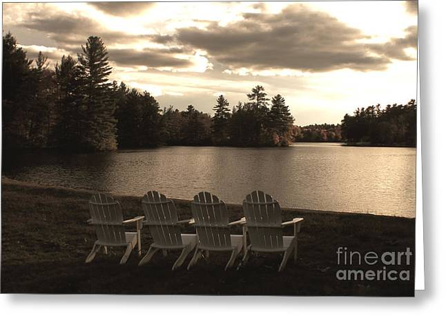 Dusk By The Lake Greeting Cards - Best seats in town Greeting Card by Claudia Mottram