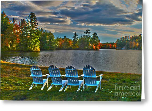 Dusk By The Lake Greeting Cards - Best seats in town - HDR Greeting Card by Claudia Mottram