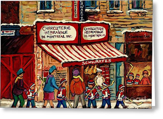 Snowy Day Greeting Cards - Best Selling Original Montreal Paintings For Sale After The Hockey Game At Schwarts Deli Cspandau Greeting Card by Carole Spandau
