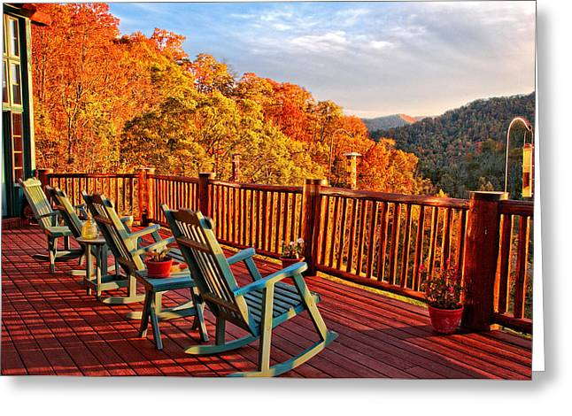 Rocking Chairs Greeting Cards - Best View in Town  Greeting Card by Lynn Bauer