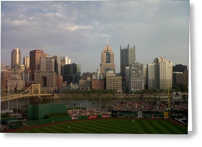 Pittsburgh Pirates Paintings Greeting Cards - Best View of ANY Baseball Stadium Greeting Card by David Bartsch