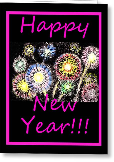 Fireworks Greeting Cards - Best Wishes And Happy New Year Greeting Card by Irina Sztukowski