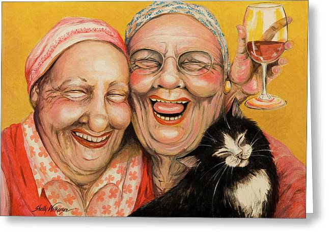 Cancer Paintings Greeting Cards - Bestest Friends Greeting Card by Shelly Wilkerson