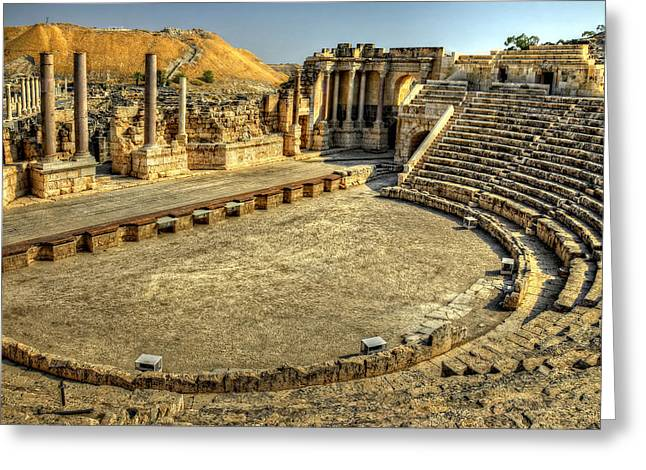 Beth Greeting Cards - Bet Shean Theater Greeting Card by Ken Smith
