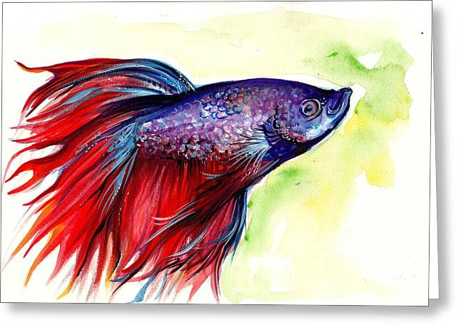 Betta Greeting Cards - Beta Splendens Watercolor Fish Greeting Card by Tiberiu Soos