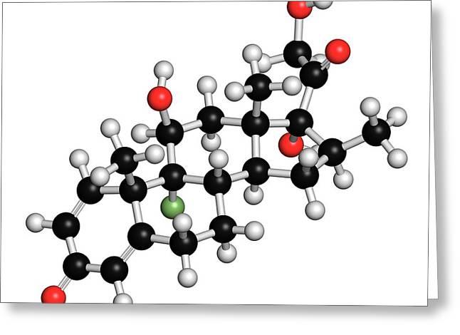 Betamethasone Steroid Molecule Greeting Card by Molekuul