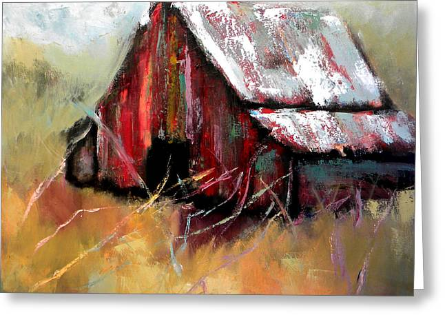 Red Roofed Barn Greeting Cards - Bethel Road Greeting Card by Lisa Moore