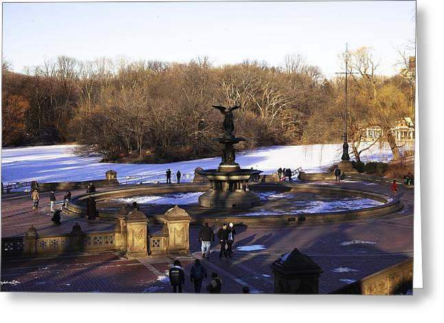 Snowy Day Greeting Cards - Bethesda Fountain 2013 - Central Park - NYC Greeting Card by Madeline Ellis