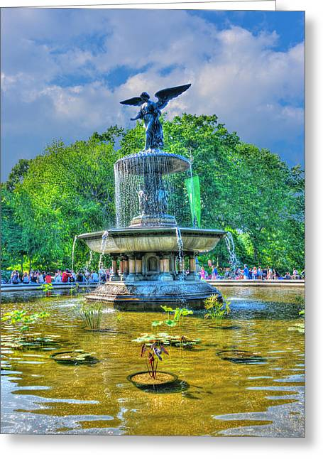 Iconic Places Greeting Cards - Bethesda Fountain Angel Profile Greeting Card by Randy Aveille
