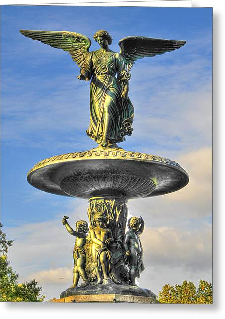 Bethesda Fountain Greeting Cards - Bethesda Fountain Angel Statue Greeting Card by Randy Aveille