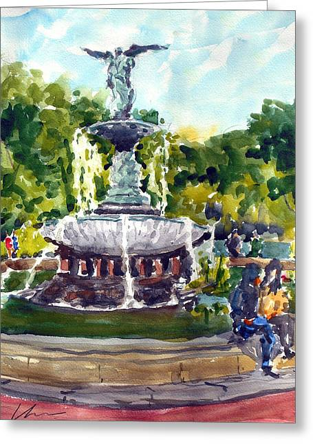 Bethesda Fountain Greeting Cards - Bethesda Fountain at Central Park Greeting Card by Chris Coyne